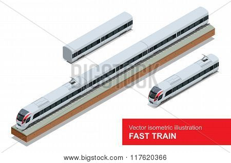Modern high speed train. Vector isometric illustration of a Fast Train. Vehicles designed to carry l