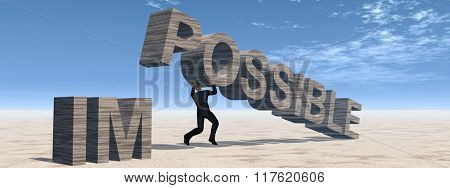 Concept conceptual 3D business man lifting an abstract stone impossible text on sky background