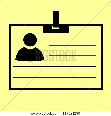 Id card sign. Flat style icon