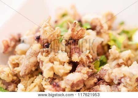 Calamari, Deep Fried Squid With Lettuce.