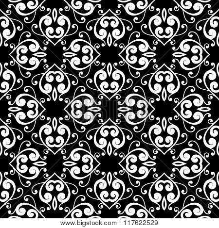 Abstract monochrome seamless hand-drawn pattern.