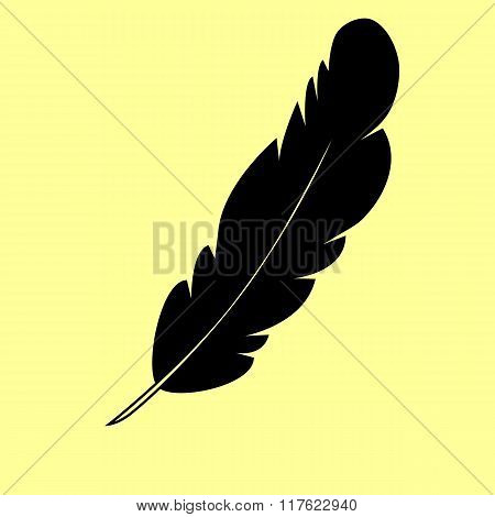 Feather sign. Flat style icon
