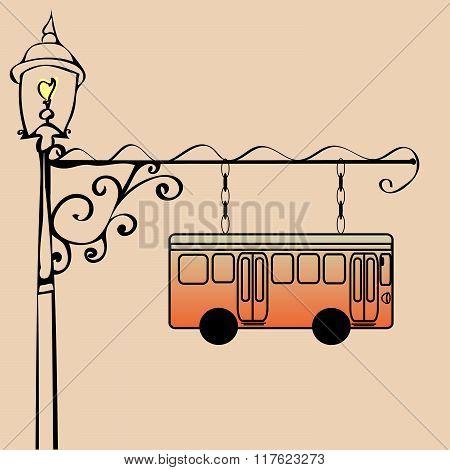 Street sign bus stop