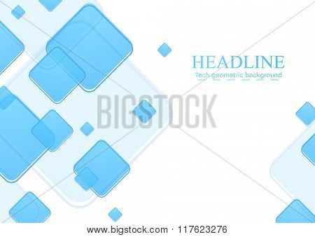 Blue geometric squares on white background. Vector tech illustration template design