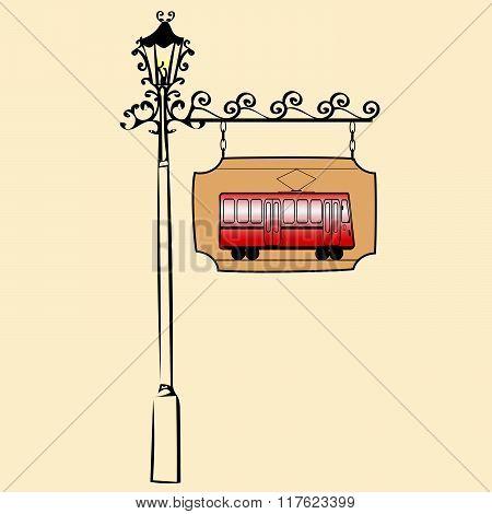 Street sign retro tram