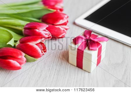 Red Tulips, Gift Box With A Red Bow And  Tablet