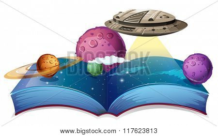 Book of astronomy with spaceship in galaxy illustration