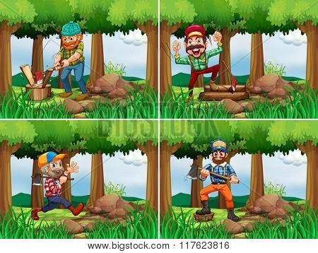 Four lumberjack chopping woods illustration