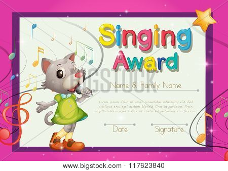 Singing award template with kitten singer illustration