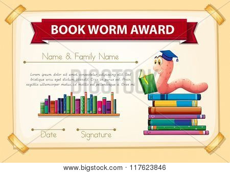 Bookworm award template with books and worm illustration