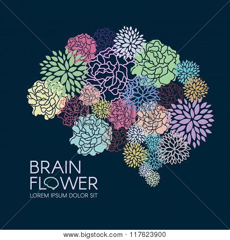 Beautiful Flora Brain Flower Abstract Vector Illustration