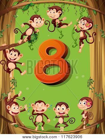 Number eight with 8 monkeys on the tree illustration