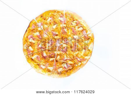 Hawaiian Pizza Isolated On White Background