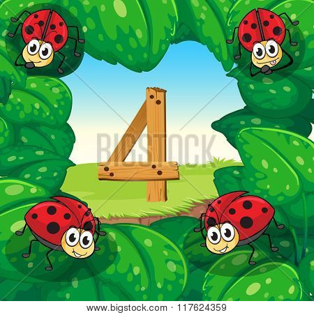 Number four with 4 ladybugs on leaves illustration