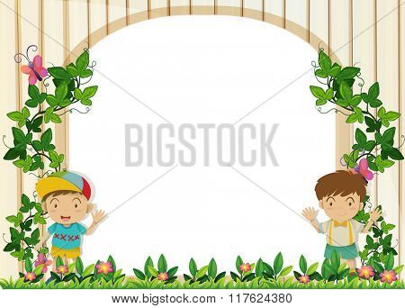 Border design with boys in the garden illustration