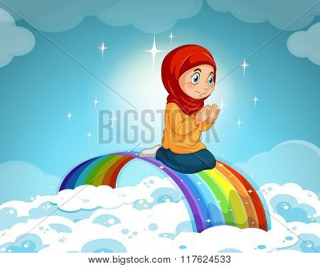 Muslim girl praying over the rainbow illustration
