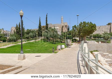 New urban Teddy Park and Tower of David on background under blue sky in Jerusalem, Israel.