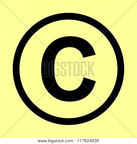 Copyright sign. Flat style icon