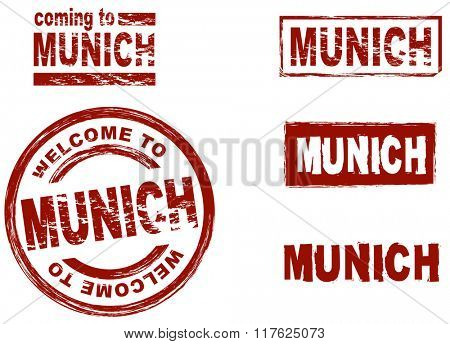 Set of stylized ink stamps showing the city of Munich