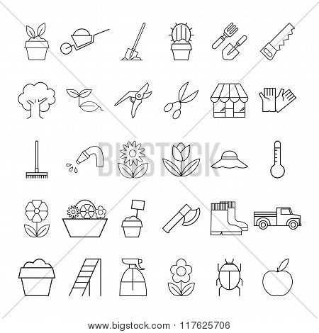 Set of garden plant icons
