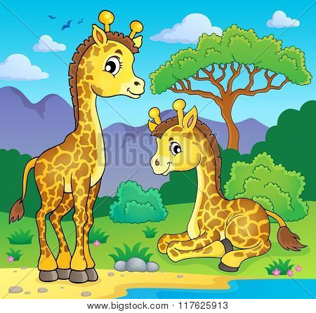 Giraffes in nature theme image 1 - eps10 vector illustration.