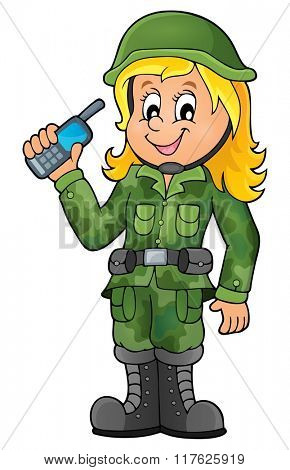 Female soldier theme image 1 - eps10 vector illustration.