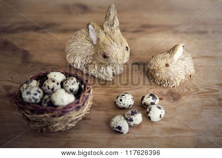 Easter Bunny With Basket Of Quail Eggs