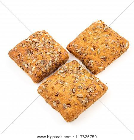 Fresh Baked Bread Or Bun With Sesame And Sunflower Seeds Topping