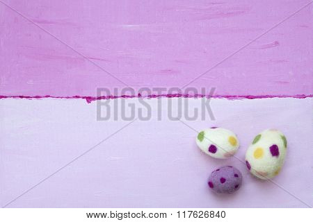 Pink And Purple Painted Background With Easter Eggs