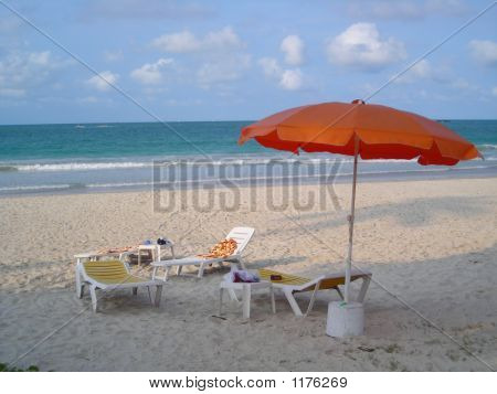 Deck Chairs At Beach At Bintan Indonesia