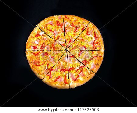 Pizza With Peppers, Corn And Peas Isolated On Black Background