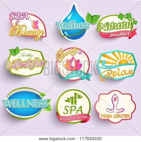 Set of beauty and spa labels