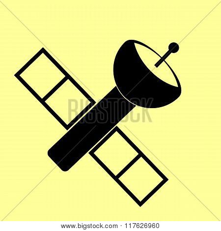 Satellite sign. Flat style icon