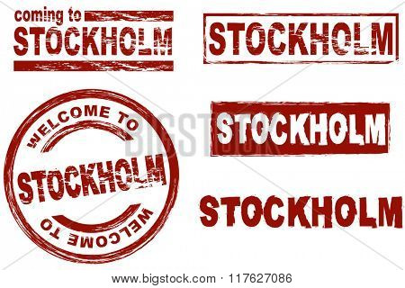 Set of stylized ink stamps showing the city of Stockholm