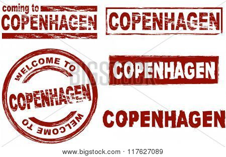 Set of stylized ink stamps showing the city of Copenhagen
