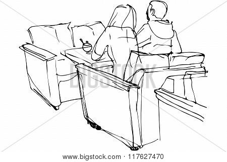 Vector Sketch Of Man And Woman Sitting On A Couch In A Cafe