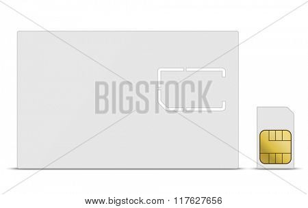 Blank white mobile SIM card vector template.
