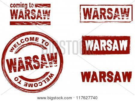 Set of stylized ink stamps showing the city of Warsaw