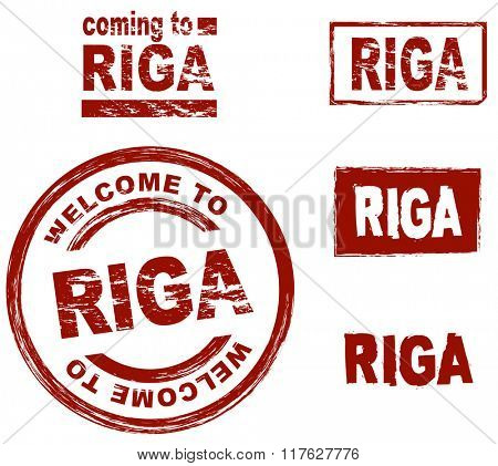 Set of stylized ink stamps showing the city of Riga
