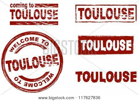 Set of stylized ink stamps showing the city of Toulouse