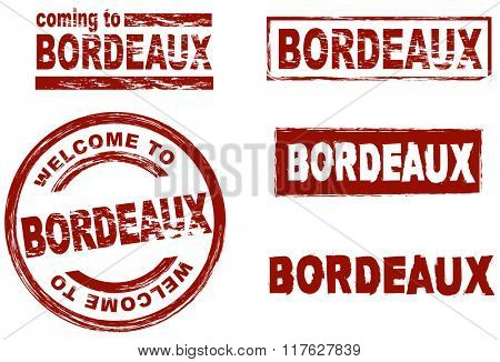 Set of stylized ink stamps showing the city of Bordeaux