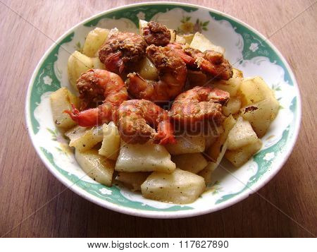Fried prawns with Chinese watermelon