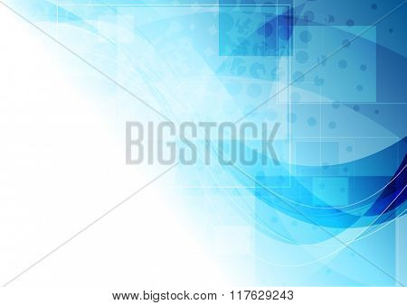Tech corporate blue wavy background. Vector drawing illustration