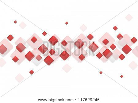 Red geometric squares on white background. Vector tech illustration template design