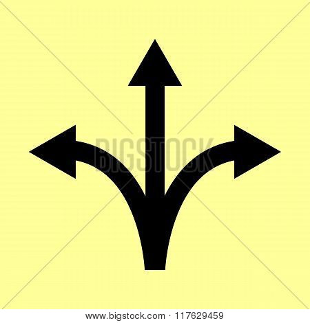 Three-way direction arrow sign