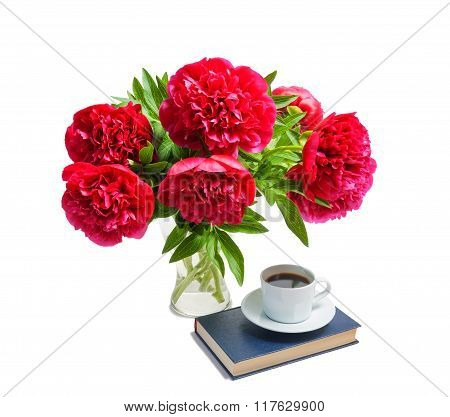 Beautiful Red Peonies In Glass Vase Isolated On White