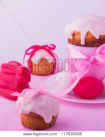 Decorated Easter Cakes And Eggs  In Pink Pastel Colours. Selective Focus.