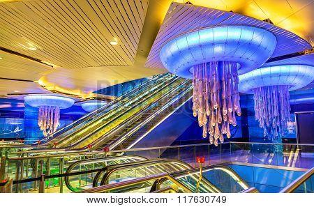 Interior of BurJuman metro station on January 1 2016 in Dubai, UAE