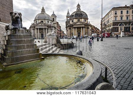 Urban Scene In Piazza Del Popolo, Rome. Italy