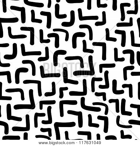 Vector Hand-painted Seamless Pattern With Abstract Doodles Lines